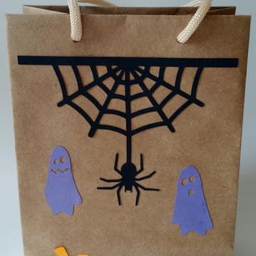 Sacolas decoradas Halloween - kraft