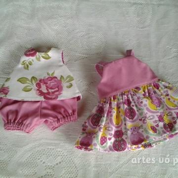 Vestido e conjunto dupla face/baby alive