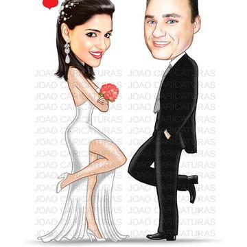 Caricatura digital de casal-Tema Sr & Sra