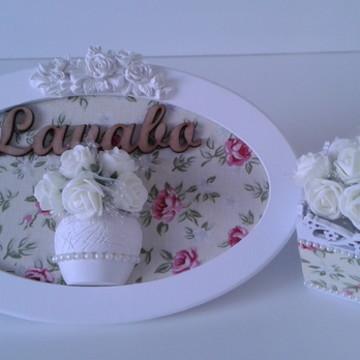 Placa Lavabo com Vasinho de Flores