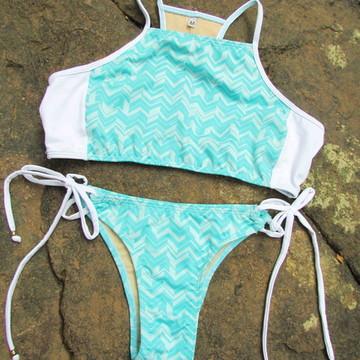 Biquini Cropped Estampado - Verão/ Moda