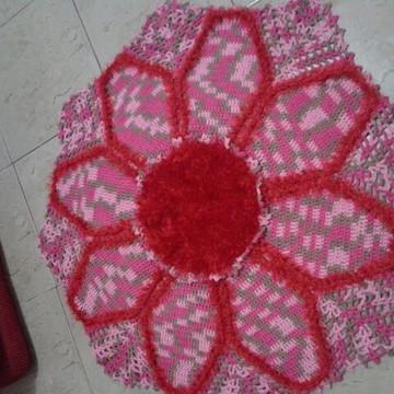 Tapete Crochê Flor Rosa