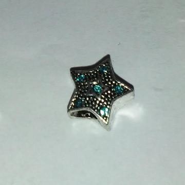 Berloque estrela prata strass azul