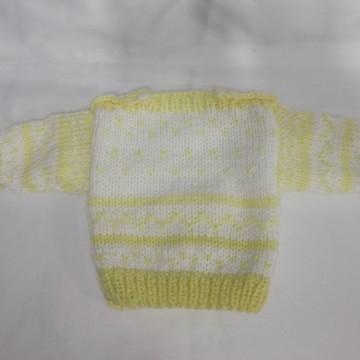 e37f5afe32 Blusa Amarela de Linha em Trico a Mao
