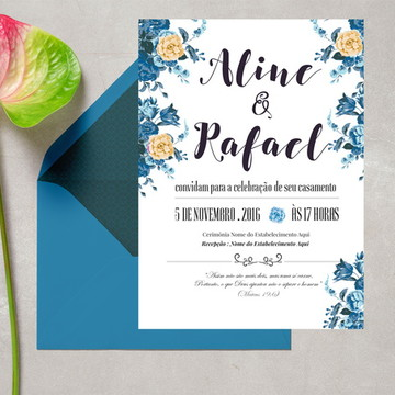 Convite de Casamento Floral Azul Digital