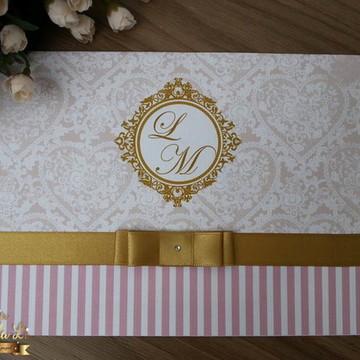 Convite Casamento Rosê com Dourado