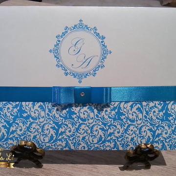 Convite Casamento Papel Perolado Azul
