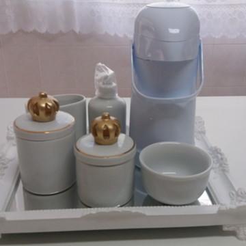 Kit higiene porcelana branco