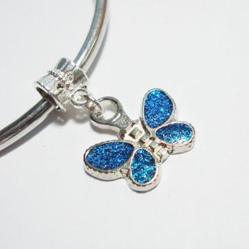 Berloque Banhado Prata - BORBOLETA Azul
