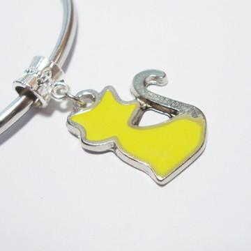 Berloque Banhado Prata- GATO Amarelo