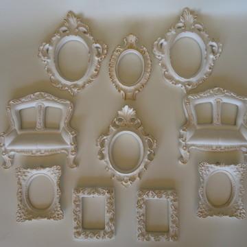 Kit Provence Branco e Dourado/Espelhos ou Fotos