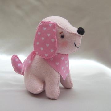 Cachorrinho em Feltro com Lenço - Rosa