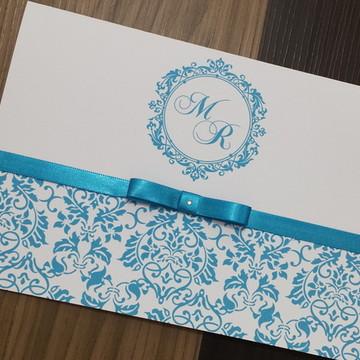 Convite casamento - Convite 15 anos - 240g turquesa tiffany