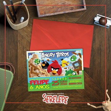 Convite Impresso Angry Birds