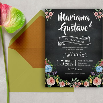 Convite de Casamento Chalkboard DIGITAL