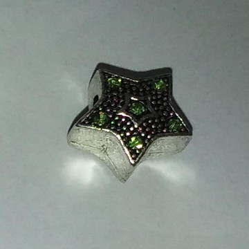 Berloque estrela prata strass verde
