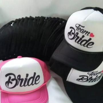 Kit 6 bonés trucker team bride noiva