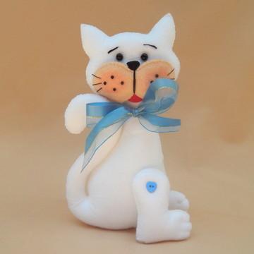 Gatinho Branco em Feltro com Fita Azul