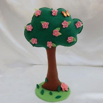Árvore com Flores Rosas - Em Feltro