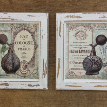 Kit 2 Quadros Decorativos Vintage Tam.: 15 x 18 cm cada
