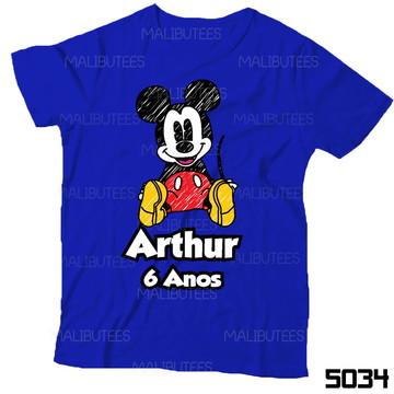 Camiseta infantil Mickey Desenho Aniversario