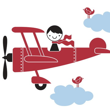 Adesivo avião vermelho com nuvens azuis