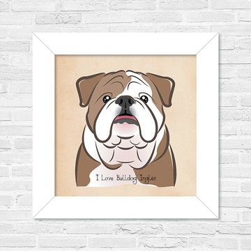 Quadro I love Bulldog Inglês
