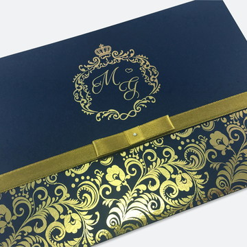 Convite de Casamento Azul Marinho Dourado Metalico