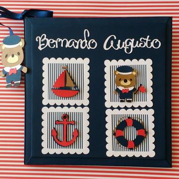 Diário do bebê personalizado ursinho marinheiro scrapbook