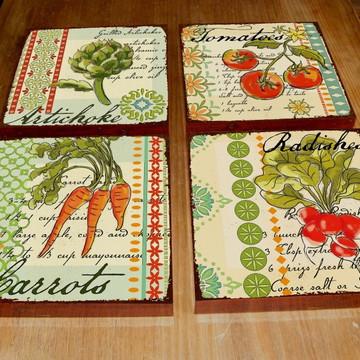 4 Quadros Tela Decorativos Legumes