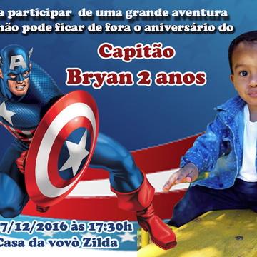 Convite capitão America com foto 7x10