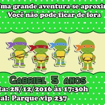 Convite Tartaruga NiNinja Baby Cute 7x10