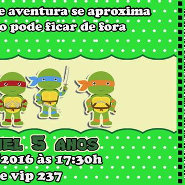 Convite Tartaguara Ninja Ingresso 14x6,5