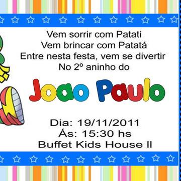 Ingresso Patati Patatá com envelopes