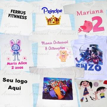 Camiseta Colorida Personalizadas 12Peças