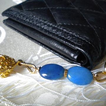 Chaveiro Jade Azul Pingente Dourado