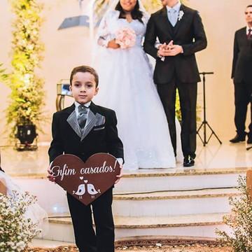Placa coração Enfim casados Rústica