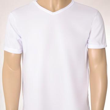 Camiseta Lisa 100% Poliéster em Gola V