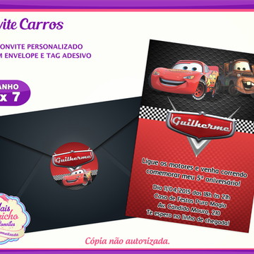 Convite Aniversário Carros Disney