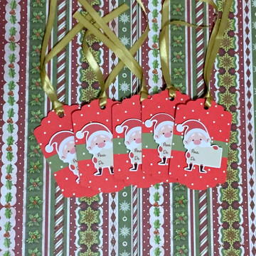 Tags de Papai Noel para Presentes de Natal 6x9cm