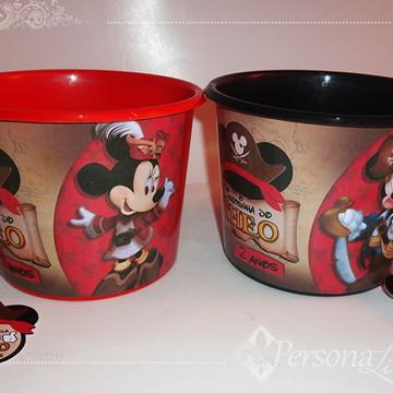 Balde Pipoca Mickey Minnie Pirata