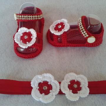 Sandália de crochê e tiara de elástico