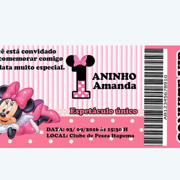Convite Minnie rosa aniversário