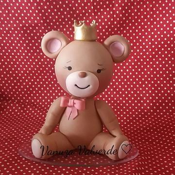 Topo de bolo ursa princesa