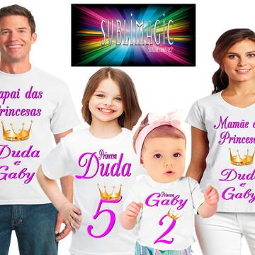 Kit 4 Camisetas Coroa de Princesas
