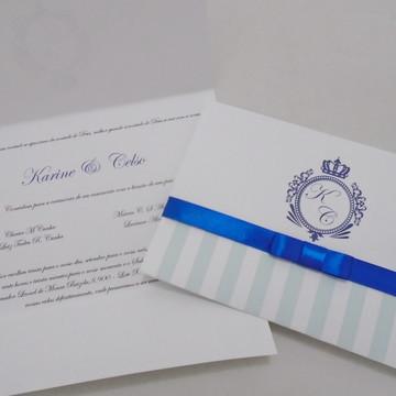 Convite Casamento Brasão Azul Royal