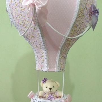 Lustre balão pendente floral lilás e rosa personalizado