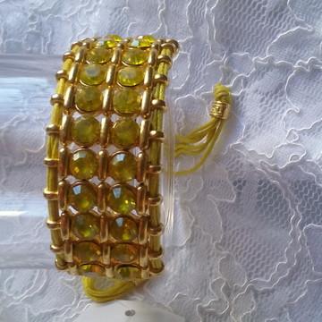 Bracelete Strass Amarelo.
