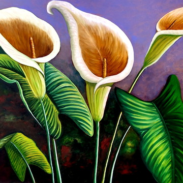 Quadro, pintura em tela, flores 70x100
