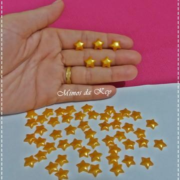 Meia Pérola Estrela 10mm.Amarelo Ouro